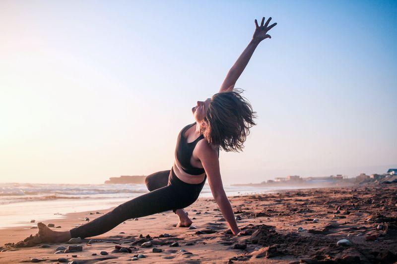 woman doing yoga in morocco