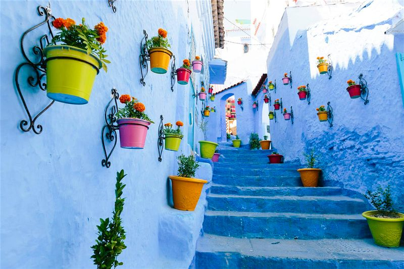 morocco blue stairs flower pots