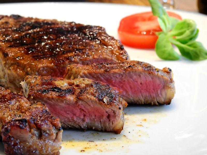 medium cooked steak