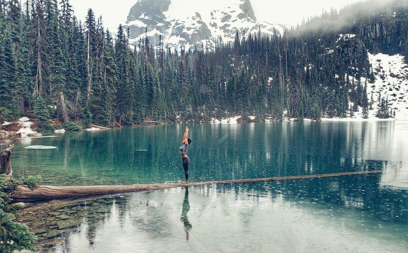 women doing yoga in mountains