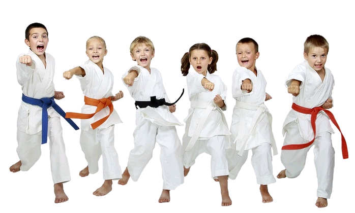 kids practicing Karate