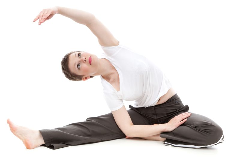woman doing a yoga pose for flexibility