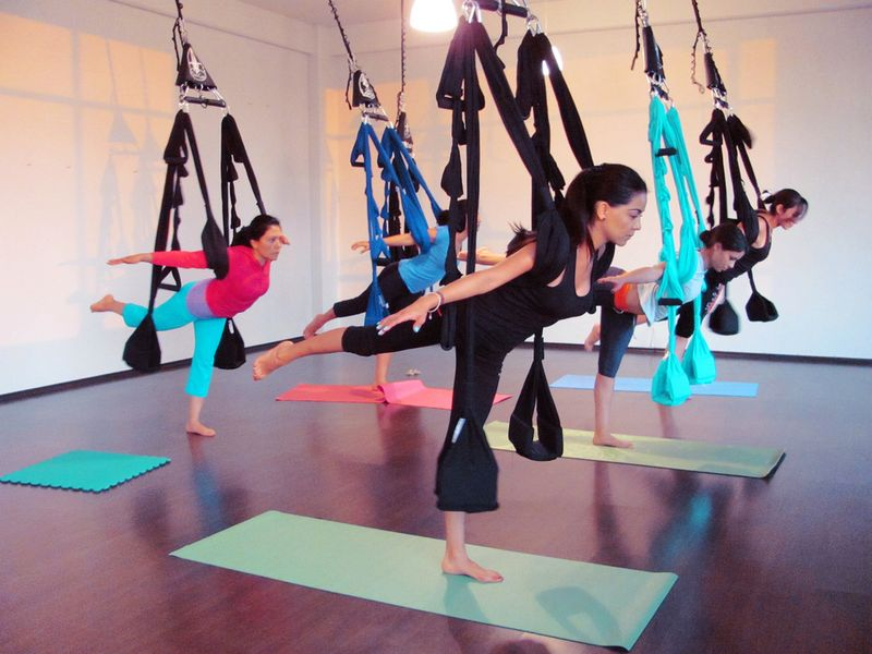 omni gym swing in aerial yoga class