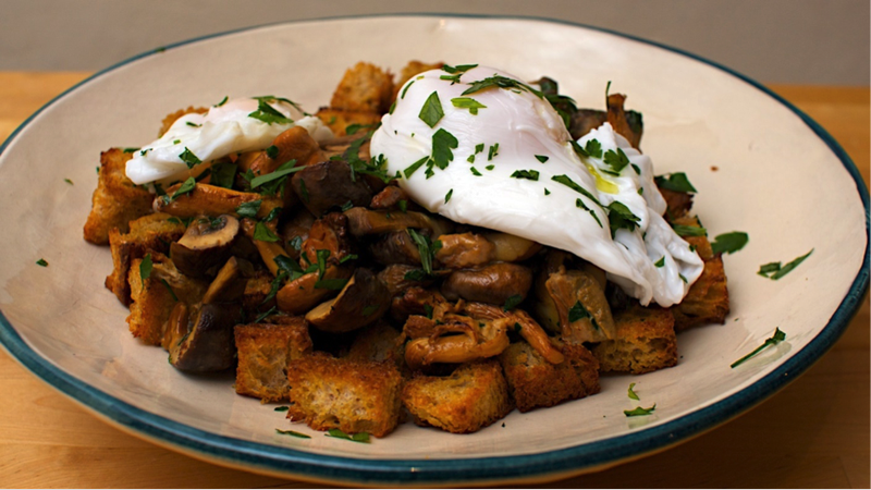 mushroom with poached duck egg