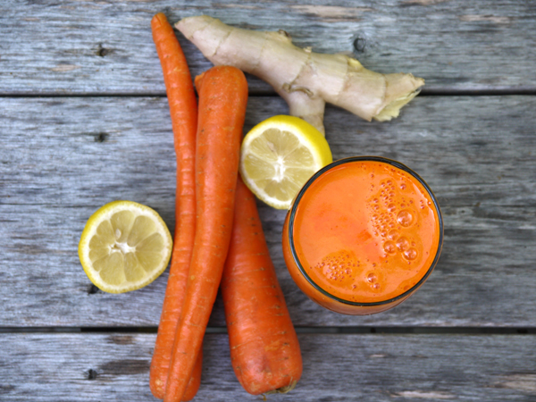 carrot, lemon, ginger juice