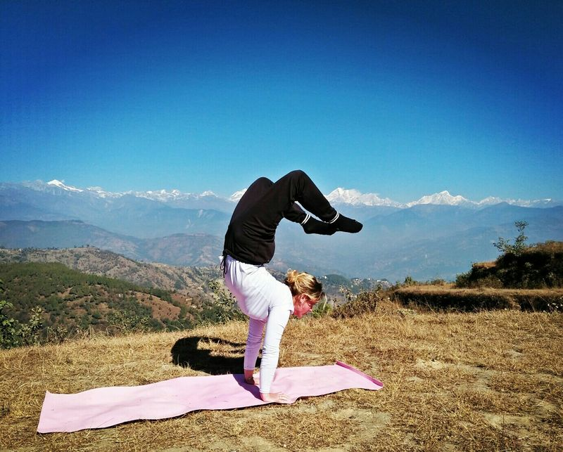 yoga home in nepal visitor practicing asana