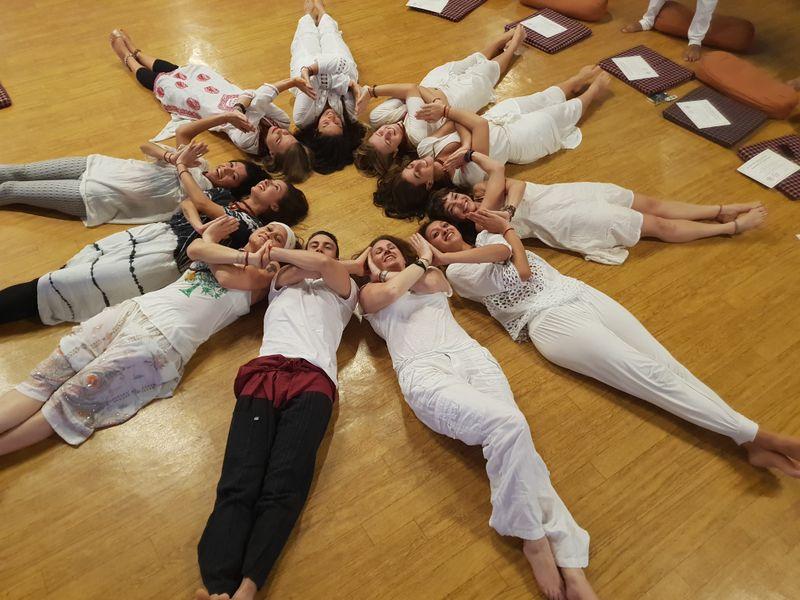 yoga circle of people on the floor in rishikesh india