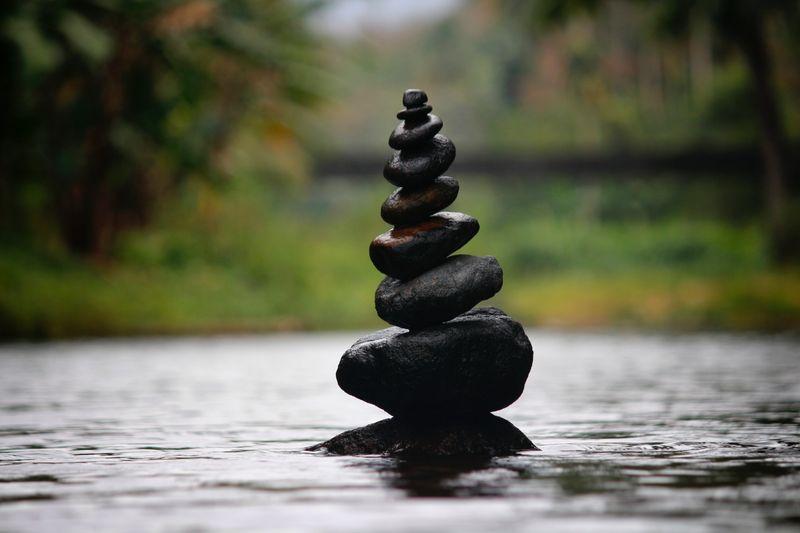 Balancing stones in Zen Garden