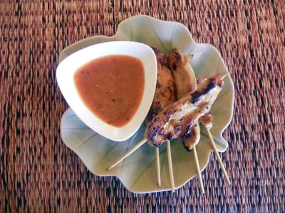 bangkok thai cooking academy classes - chicken satay with peanut sauce