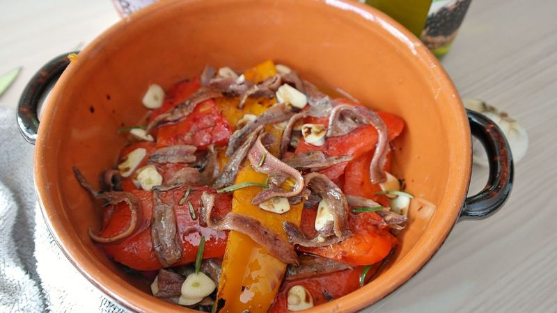 a bowl of anchovies