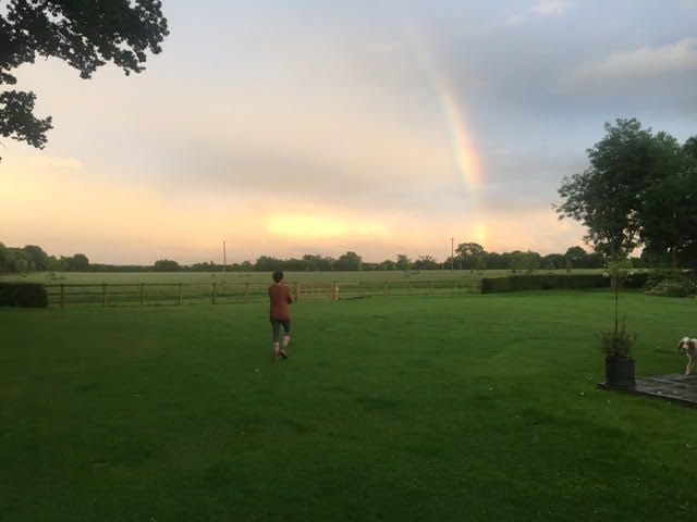 rainbow during yoga retreat in remote location uk