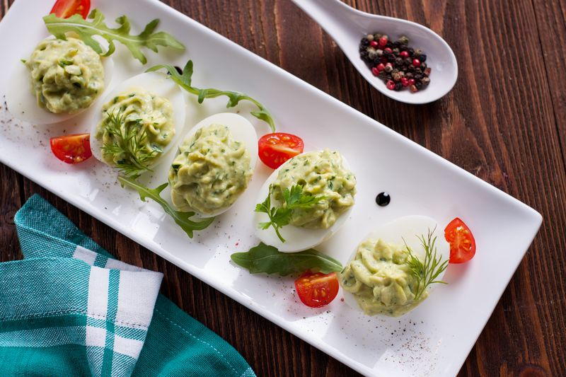 mexican keto deviled eggs with avocado