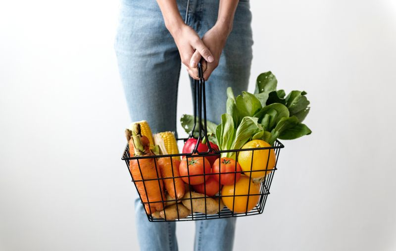 a basket of fruits and veggies