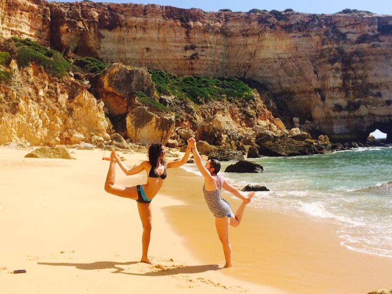 yoga on the beach in algarve portugal