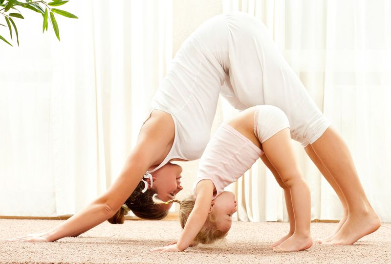 yoga pose with kids