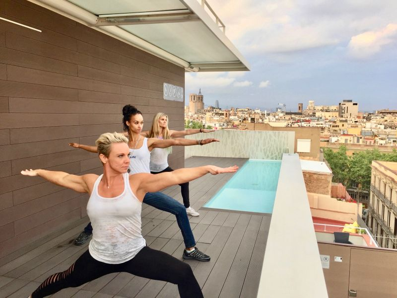Yoga on the rooftop of Hotel Gaudi