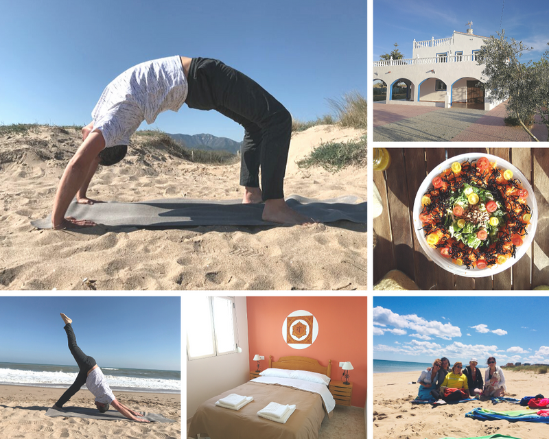 practicing yoga on the beach in valencia spain