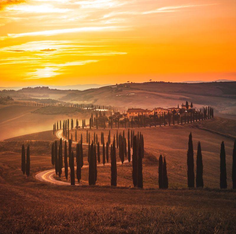 Tuscany landscape during sunset