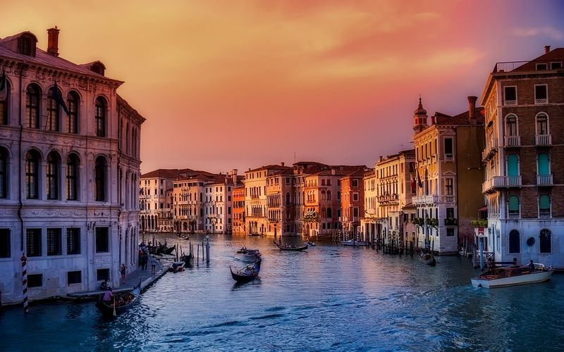 venice photo of canals in the sunset