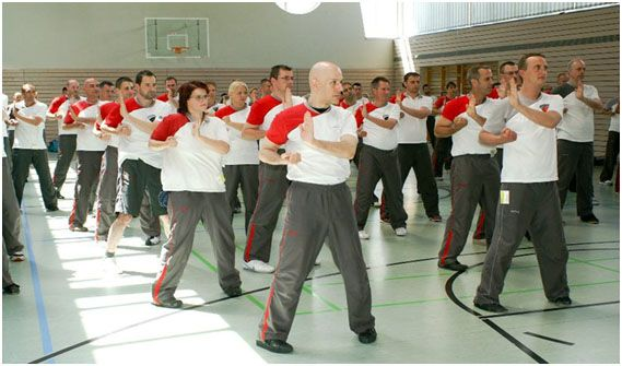 group of men practicing wing tsu