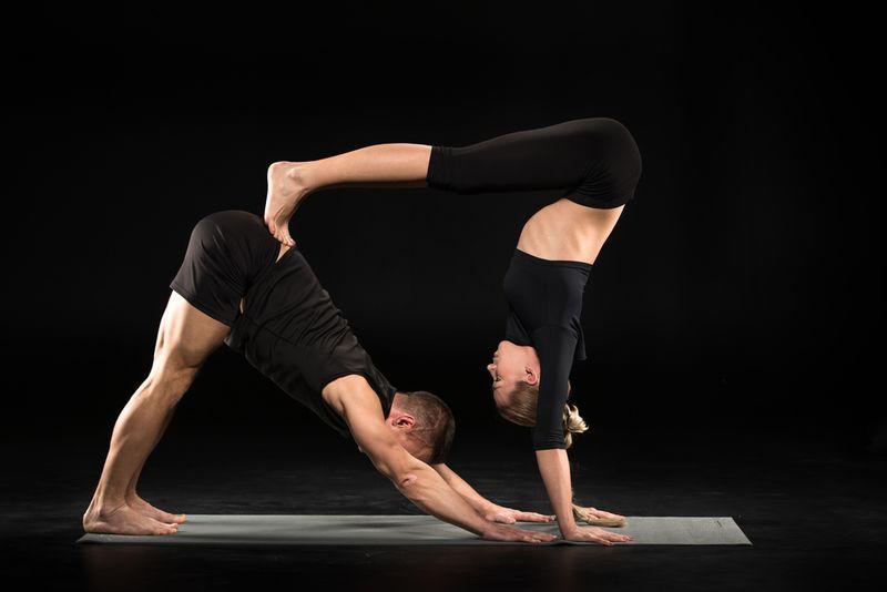 double down dog yoga pose couple
