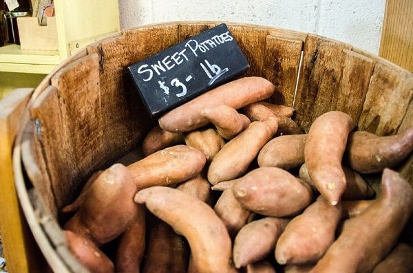 sweet potatoes with label and price