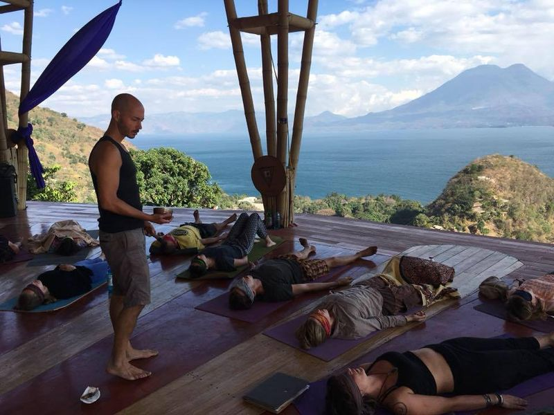 tristan leading yoga class