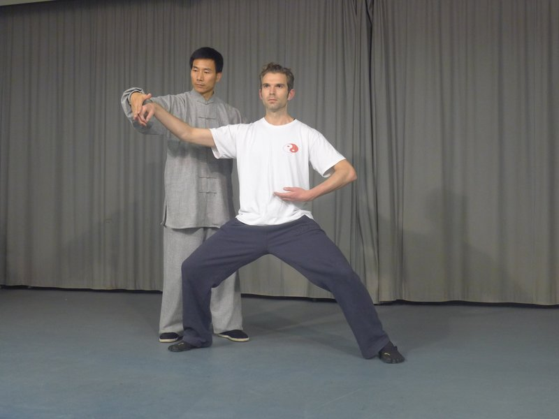 Chen Bing and I practicing Tai Chi