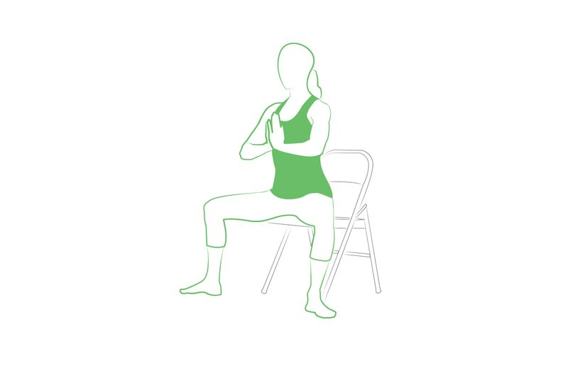 goddess squat yoga pose on chair