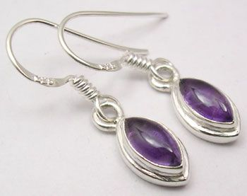 amethyst yoni earrings silver