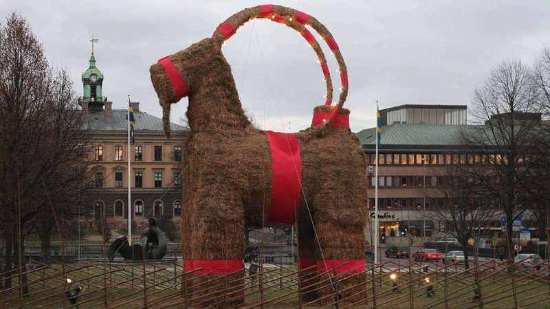 hay yule goat in sweden