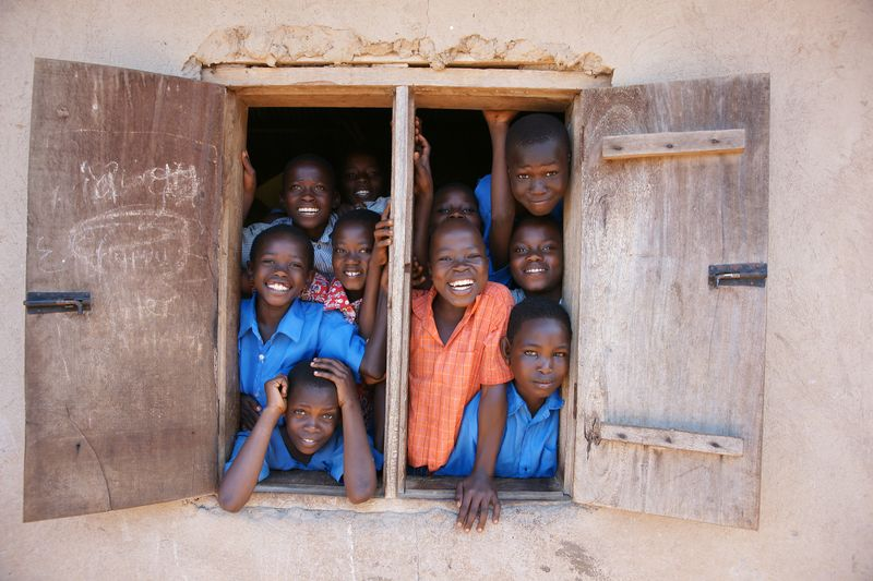 children in a rural school in Africa