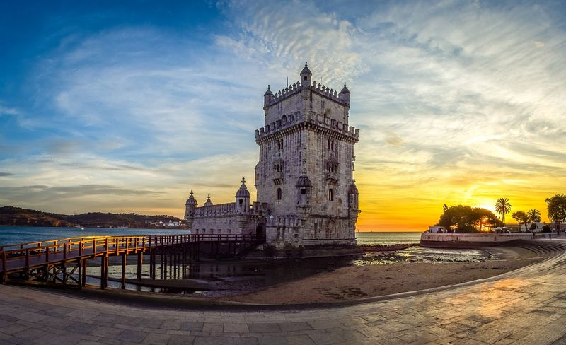 belem tower in sunset lisbon portugal
