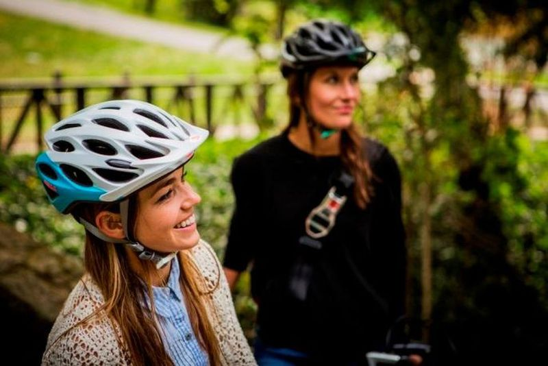 women with biking helmet