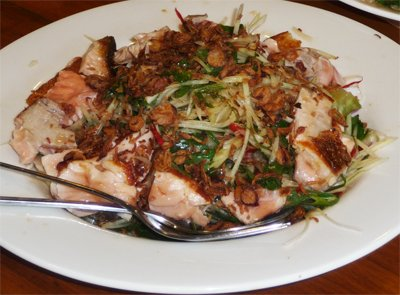 thai cooking at wildwood valley - seared salmon papaya salad