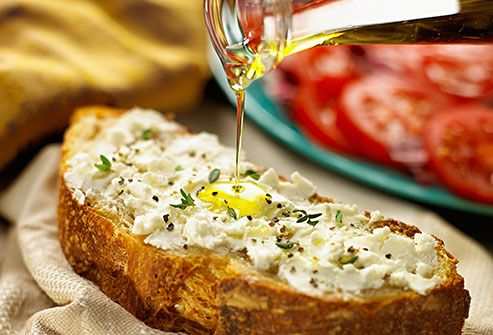 greek cheese and olive oil tartine