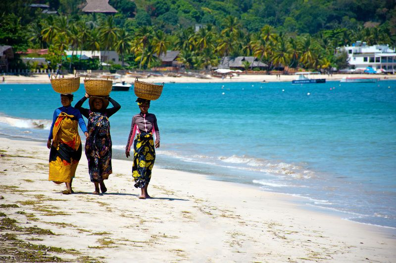 local women on the beach in Madagascar