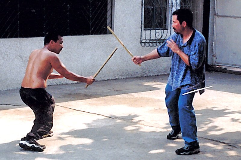 Practicing Eskrima in the streets