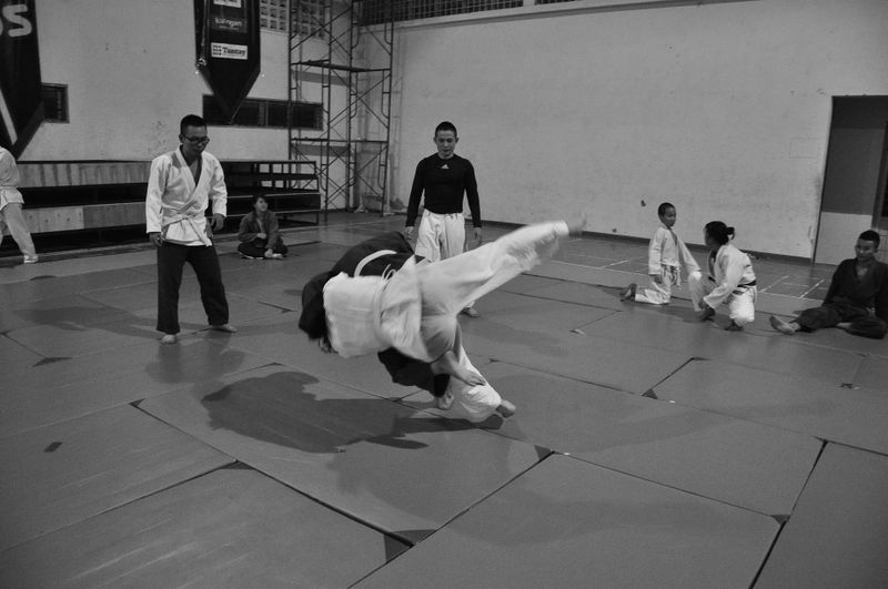 black and white photo of judo practice
