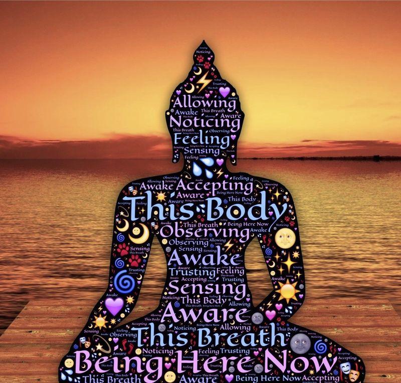 buddha made from symbols