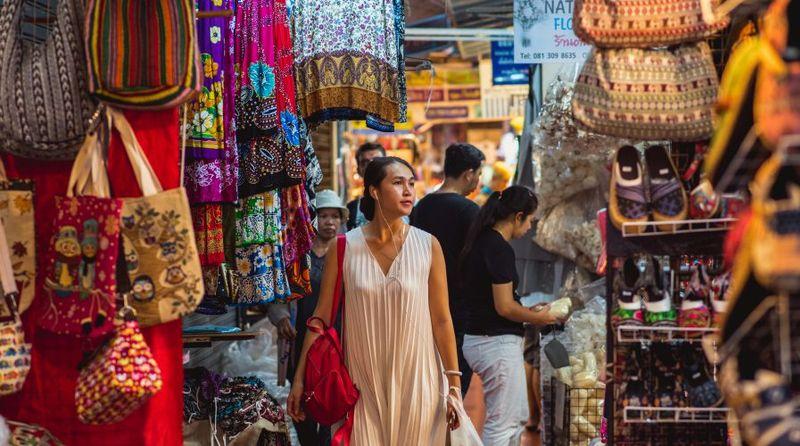woman shopping at Chatuchak market