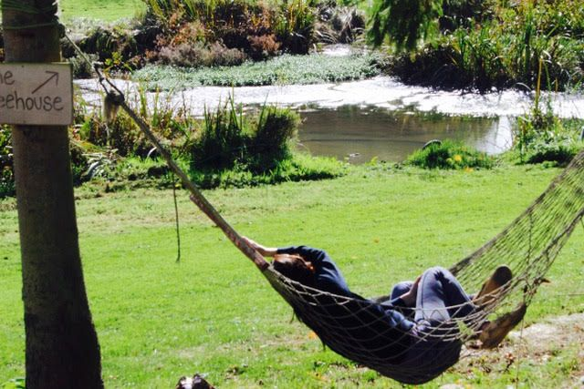 person sitting in a hammock during yoga retreat
