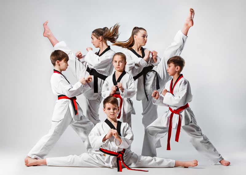 children martial arts group