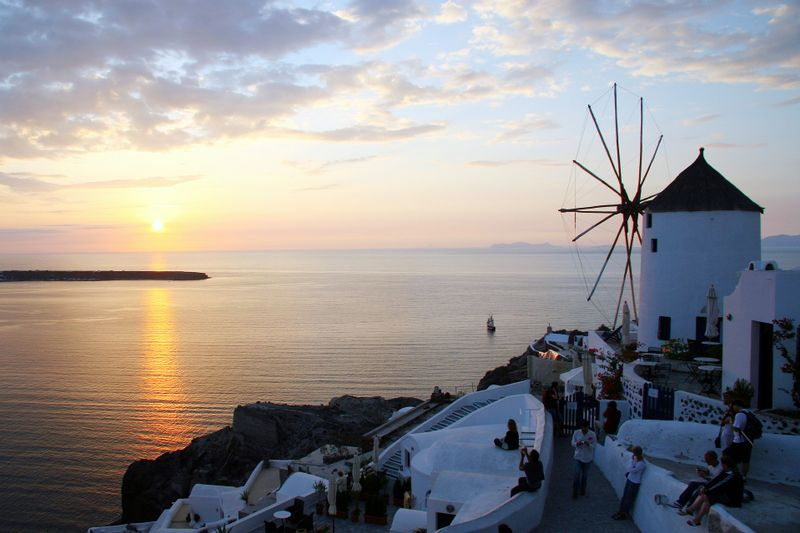 santorini landscape with windmill