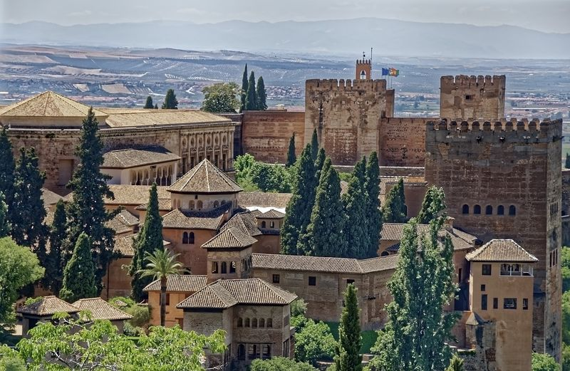 view of alhambra castle complex in andalusia