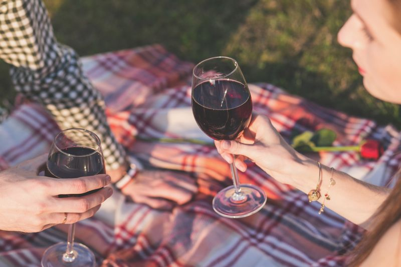 couple enjoying red wine