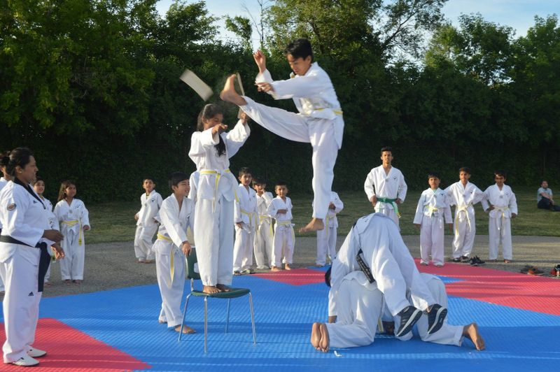 practicing martial arts outdoors