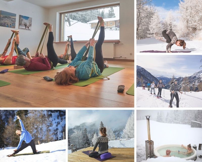 yoga and snow shoe hiking in austria