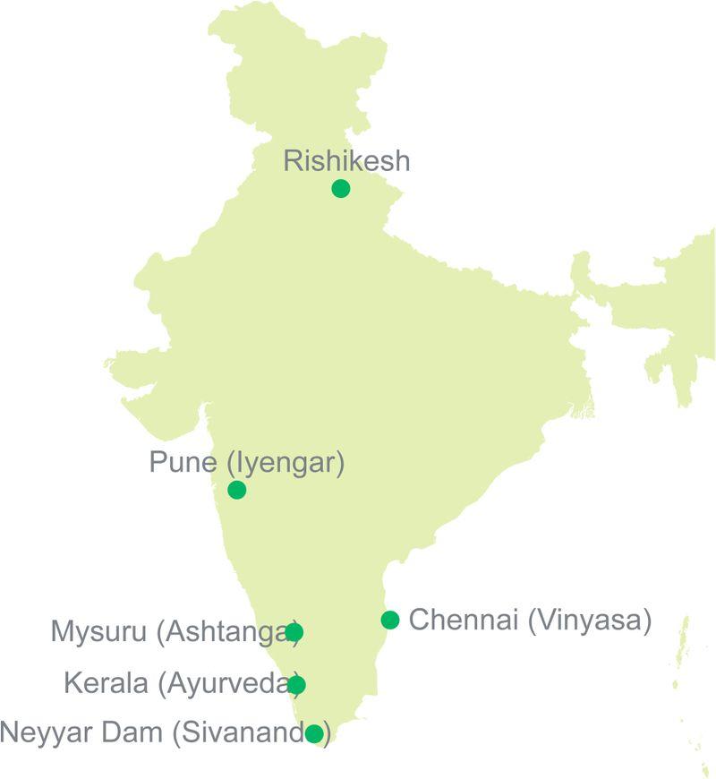 india yoga map