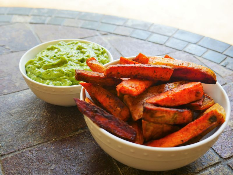 guacamole and sweet potato fries in mexico